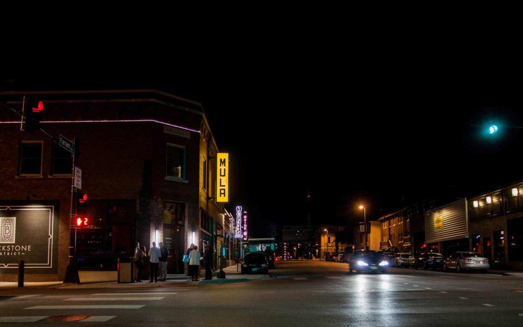 omaha blackstone district at night from Farnam Street